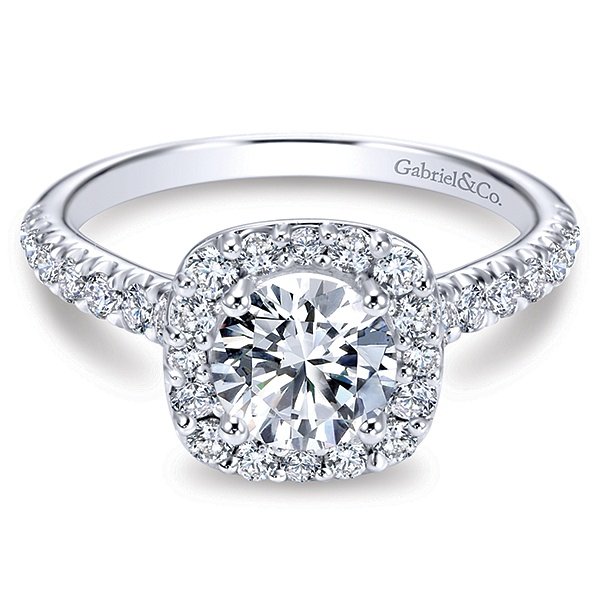 Marcotte Jewelry Kylie 14k White Gold Round Halo Engagement Ring